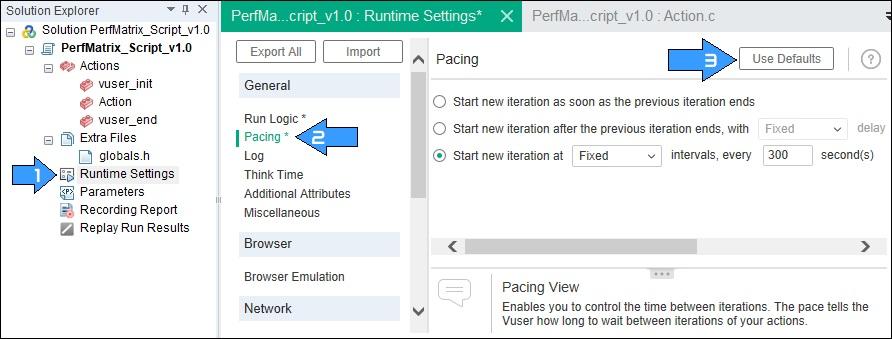 Default Runtime Settings in LoadRunner