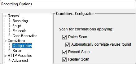 LoadRunner Automatic Correlation Option