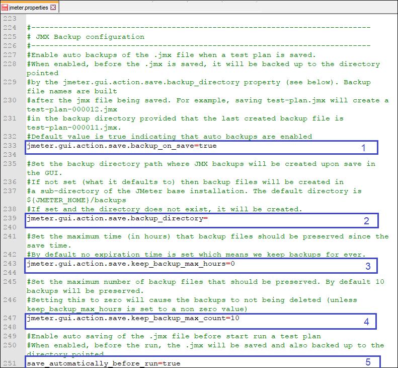 JMX Backup jmeter properties file