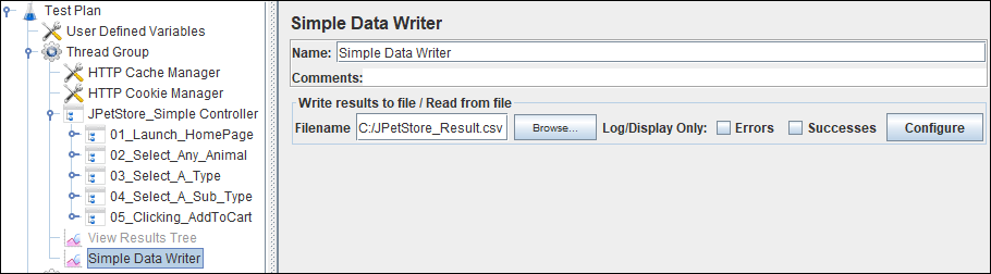 Log file path to Simple File Writer