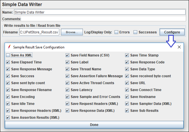 Configure setting of Simple Data Writer