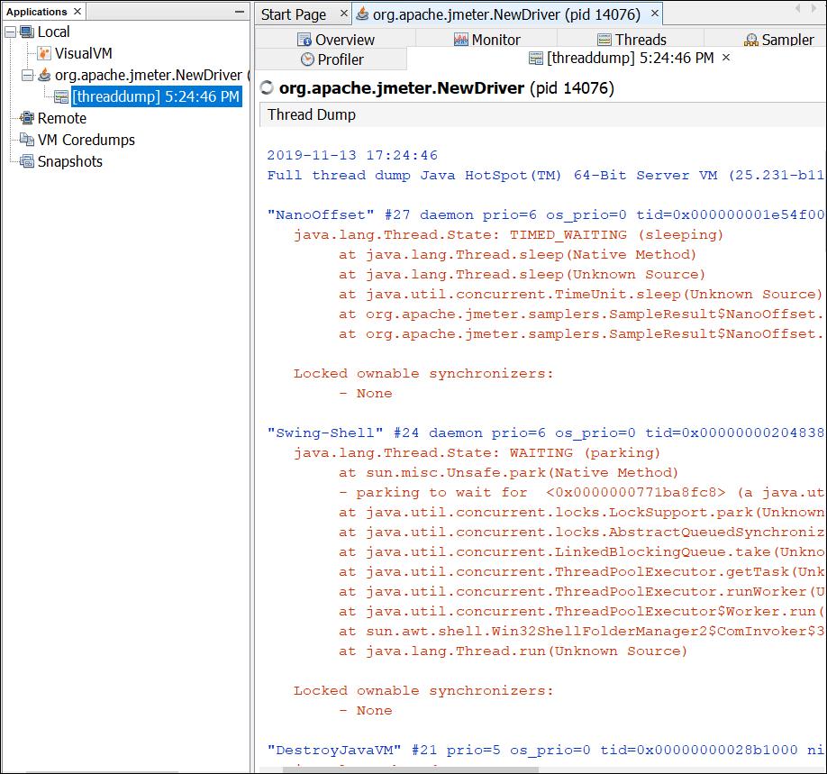 Thread Dump on Java VisualVM