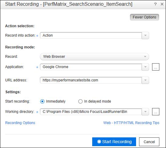 LoadRunner Script Record - Recording Option