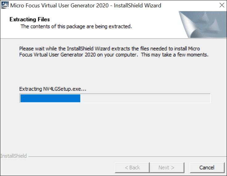 Installation of LoadRunner VuGen - Extracting File
