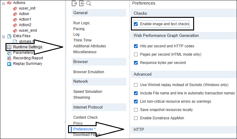 LoadRunner Content Check - Image Check Runtime Settings