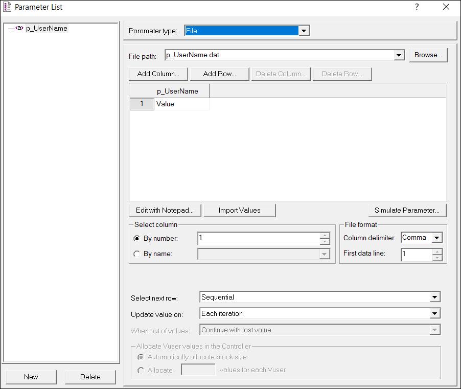 LoadRunner Parameter Types - File