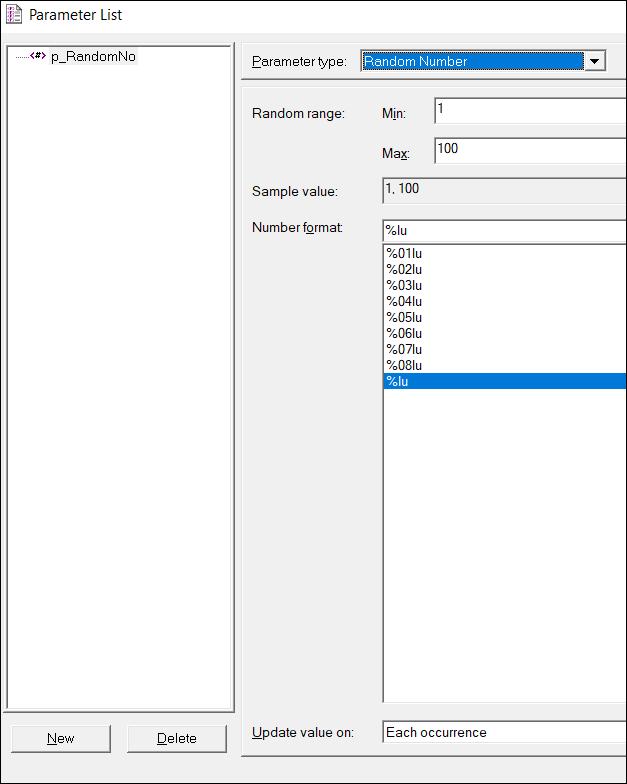 LoadRunner Parameter Types - Random Number