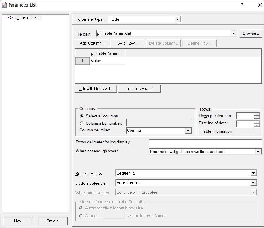 LoadRunner Parameter Types - Table