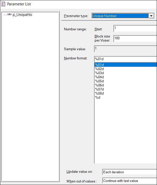 LoadRunner Parameter Types - Unique Number