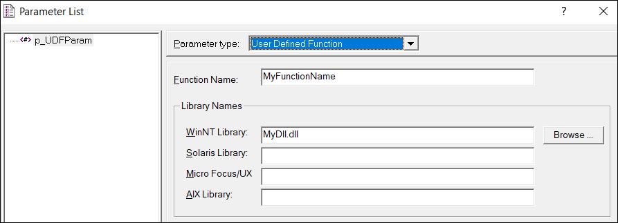 LoadRunner Parameter Types - User Defined Function