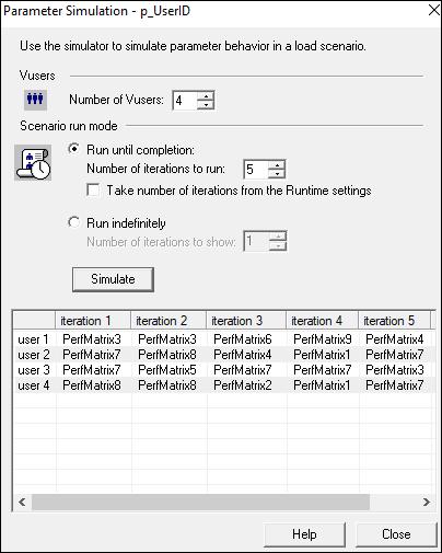 LoadRunner Parameter Settings Simulate