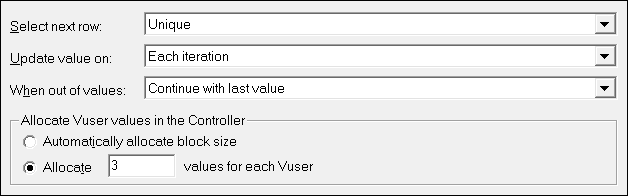 Select next row=Unique / Update value on= Each iteration / When out of values=Continue with last value