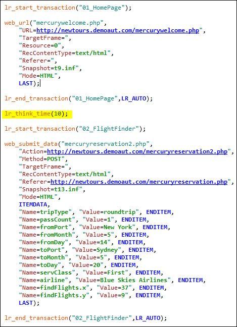 LoadRunner - Runtime Settings - Example