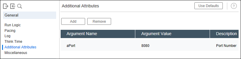 Additional Attribute tab in LoadRunner Runtime Settings - Defining argument in Additional Attribute