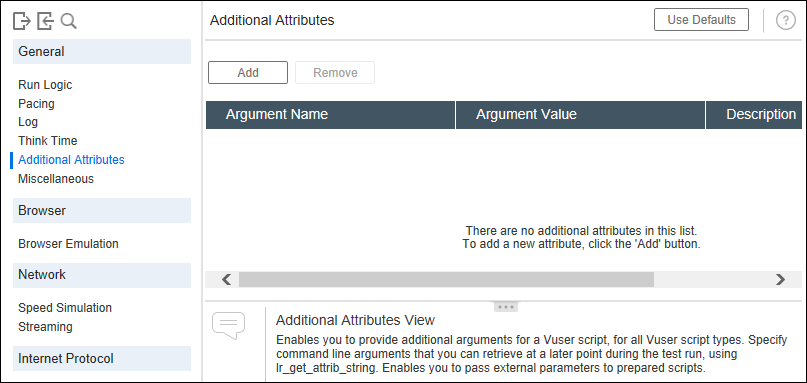 Additional Attribute tab in LoadRunner Runtime Settings