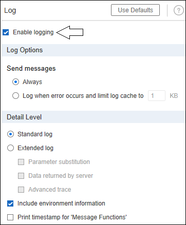 LoadRunner - Runtime Settings - Enable `Log