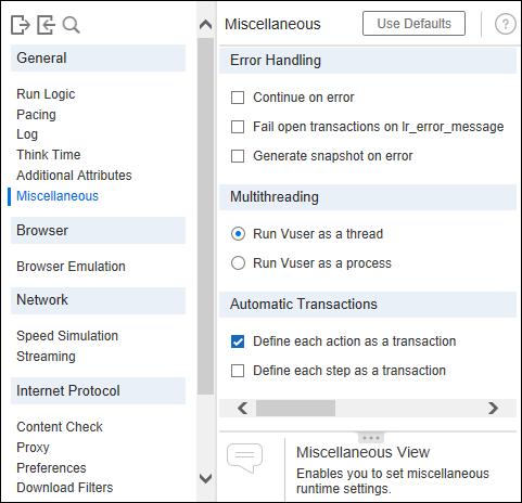 LoadRunner - Runtime Settings - Miscellaneous