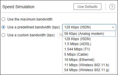 LoadRunner predefined Bandwidth