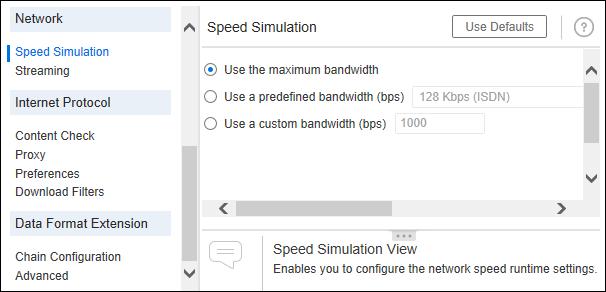 LoadRunner - Runtime Settings - Speed Simulation