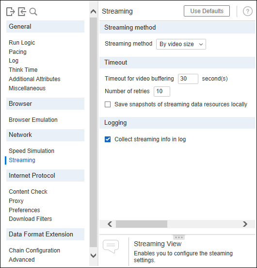 LoadRunner - Runtime Settings - Streaming