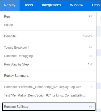 LoadRunner - Runtime Settings Option