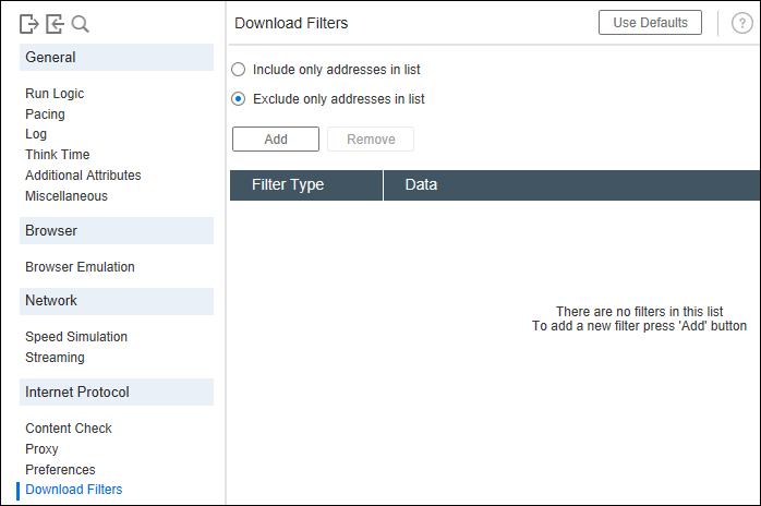LoadRunner - Runtime Settings - Download Filters