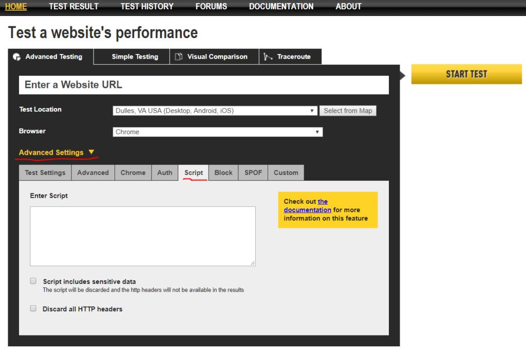 Google WebPageTest API