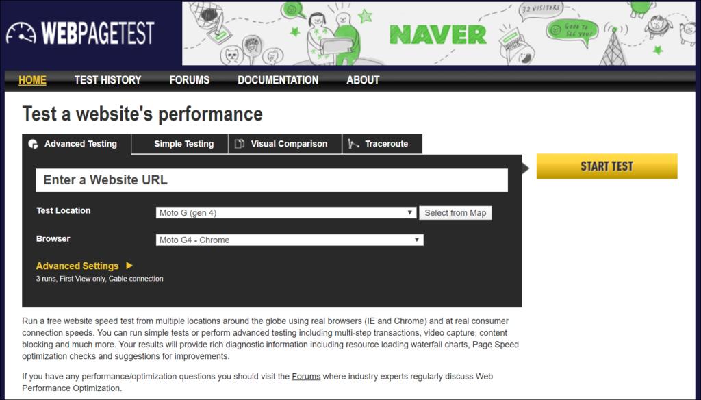 Google WebPageTest API - Home Page