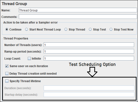 How to schedule a test in JMeter?