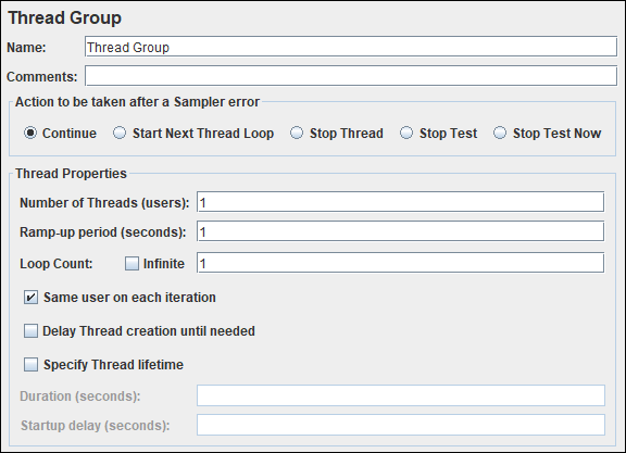 JMeter - Thread Group Element