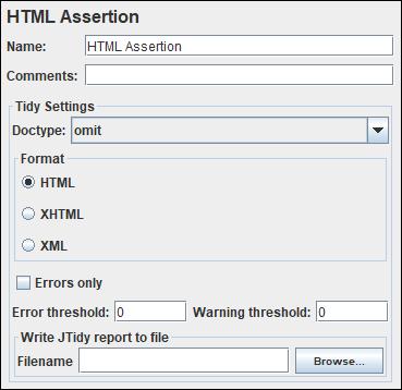 JMeter - HTML Assertion