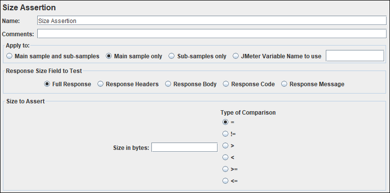 JMeter - Size Assertion