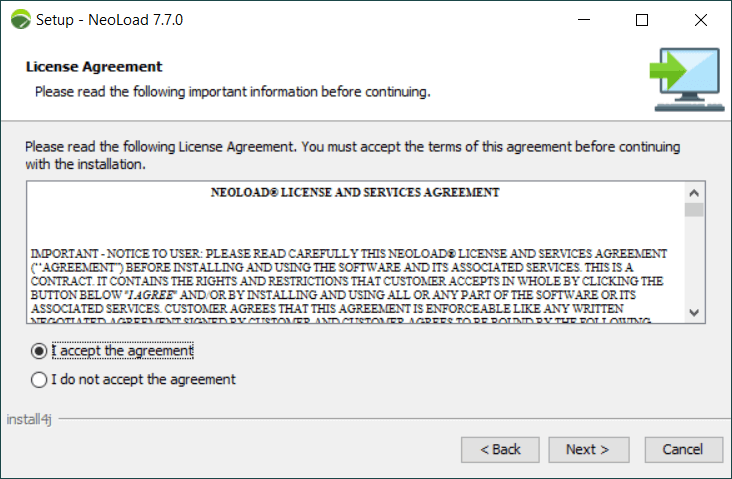 How to install NeoLoad - License Agreement