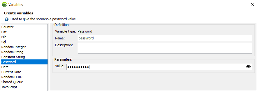 NeoLoad – Password Variable