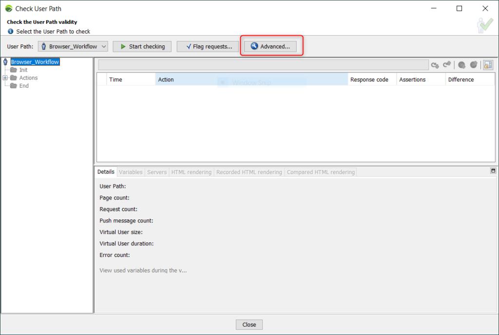 NeoLoad - Check User Path - Window