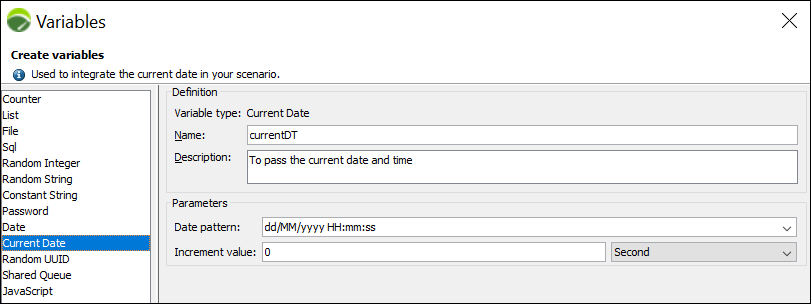 NeoLoad - Current Date Variable