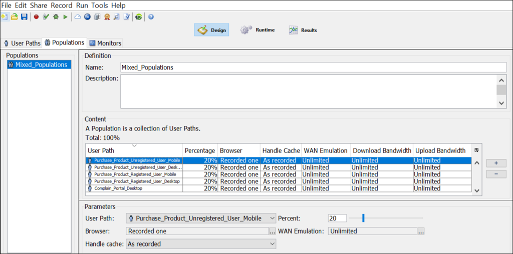 NeoLoad - Populations parameter setting