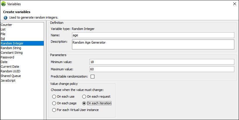 NeoLoad - Random Integer Variable
