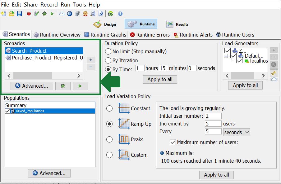 NeoLoad - Test Scenario - Scenarios