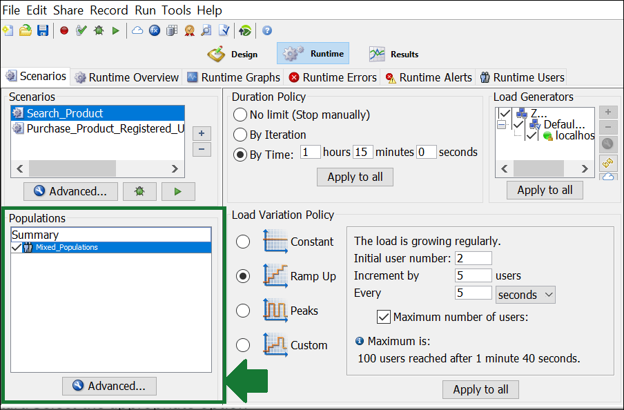 NeoLoad - Test Scenario - Populations