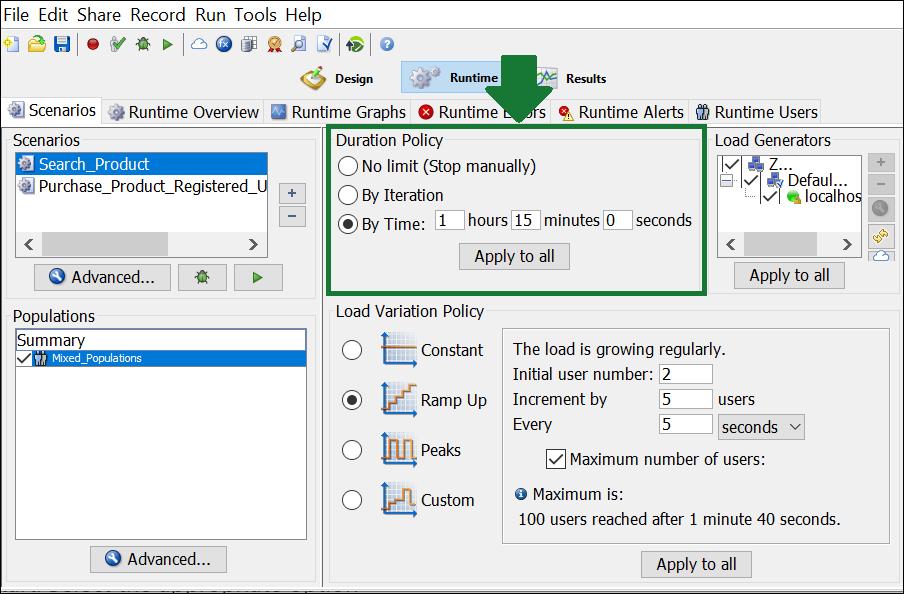 NeoLoad - Test Scenario - Duration Policy