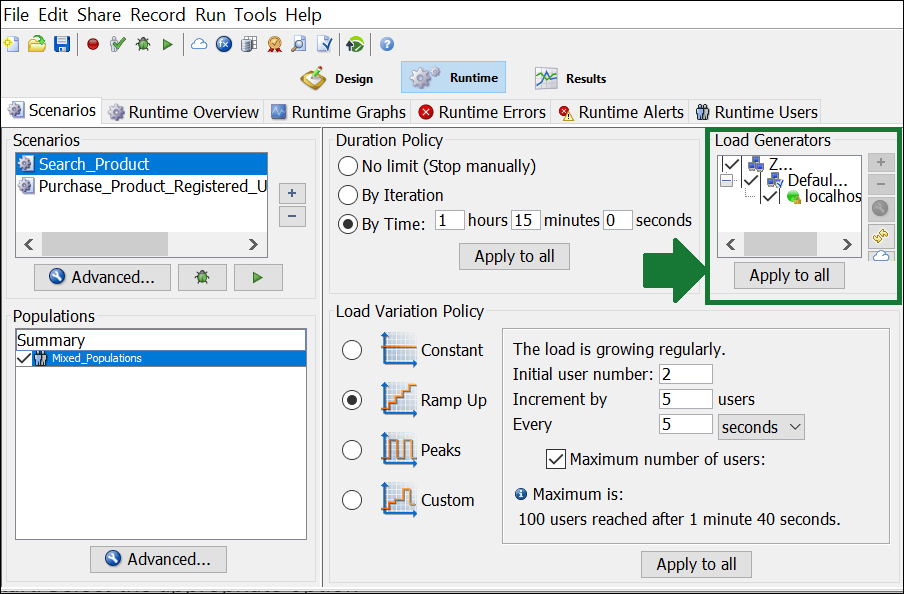 NeoLoad - Test Scenario - Load Generators