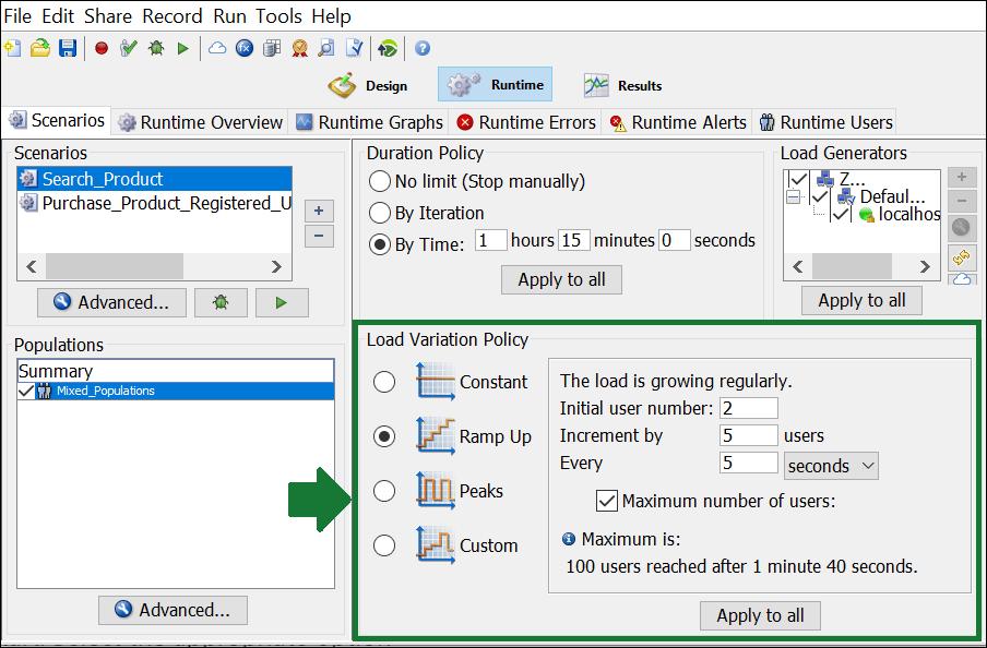 NeoLoad - Test Scenario - Load Variation Policy